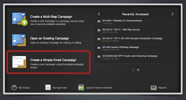 """The Summer 2014 Release (Jun/Jul) includes the addition of the """"Create a Simple Email Campaign"""" option. A wizard quickly you walks you through the process of a batch send or single step campaign."""
