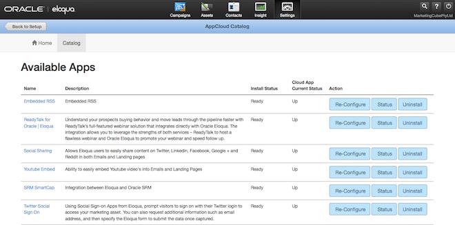 Eloqua AppCloud Catalog Available Apps 660x137pxl