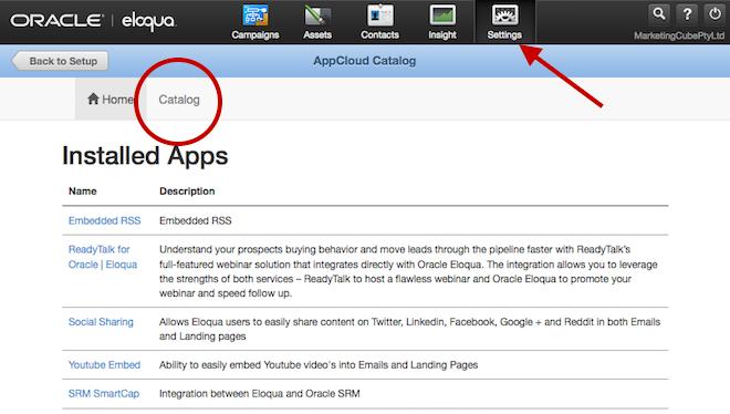 Eloqua AppoCloud Catalog Installed Apps Home 660x364pxl
