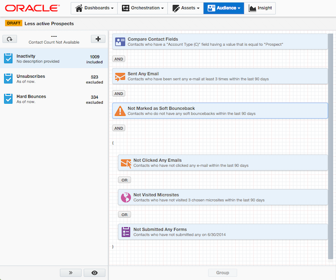 Oracle Marketing Cloud Eloqua Segments