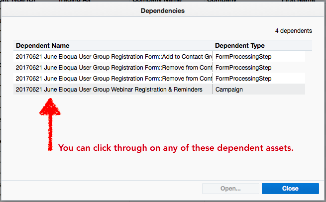 Shared Lists Actual Dependencies