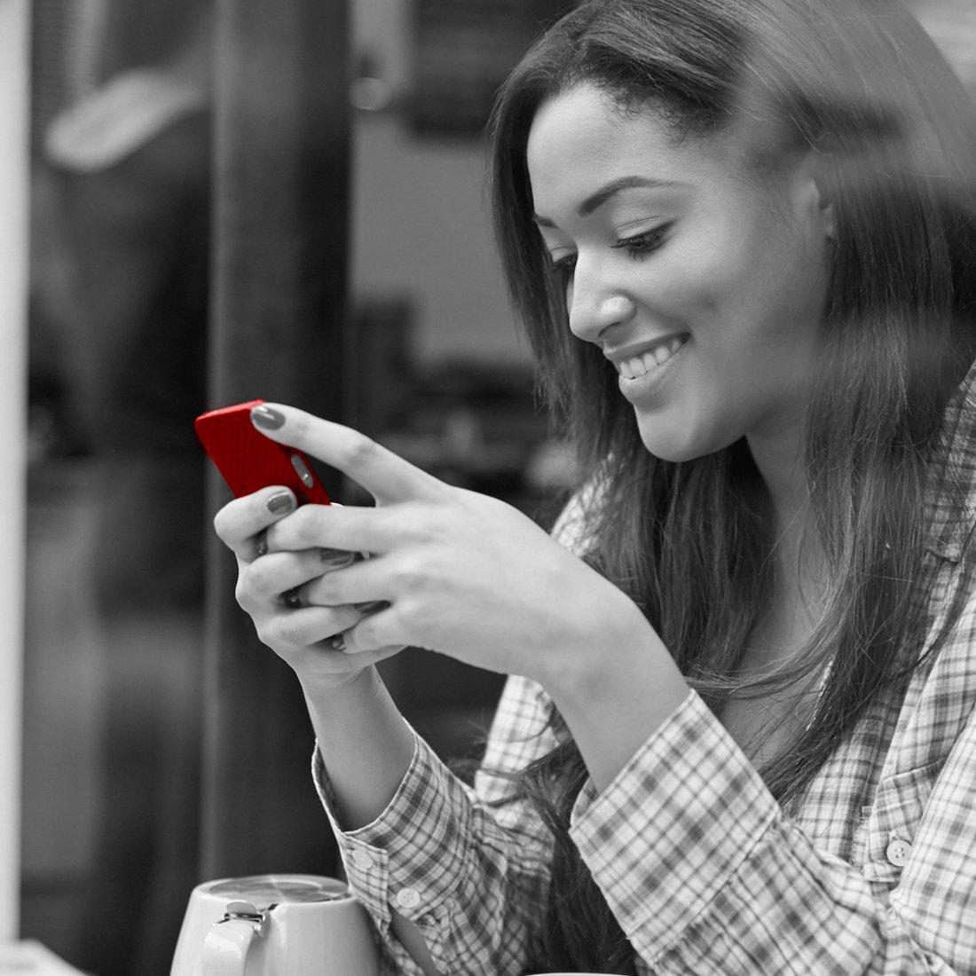 Woman on phone greyscale 1100x1100