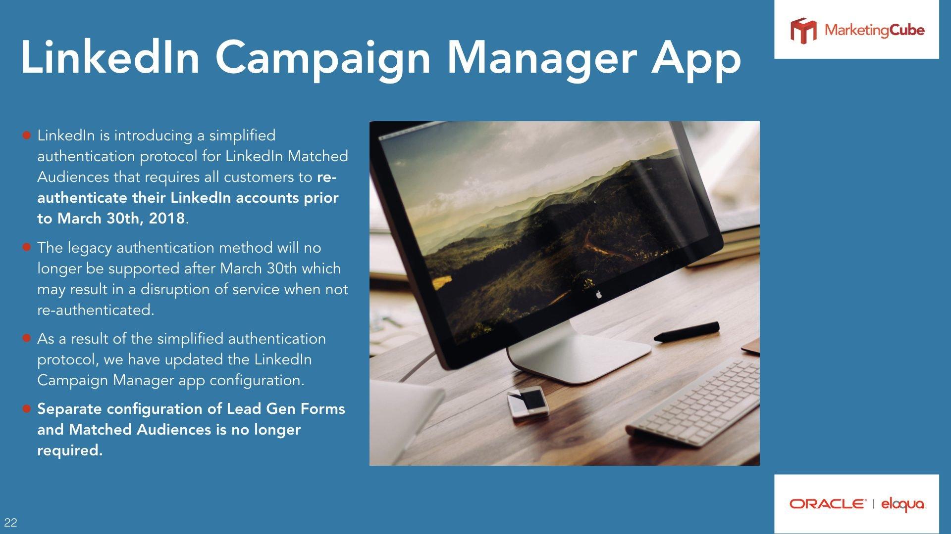LinkedIn Campaign Manager App | Single City Event Registration Eloqua User Group
