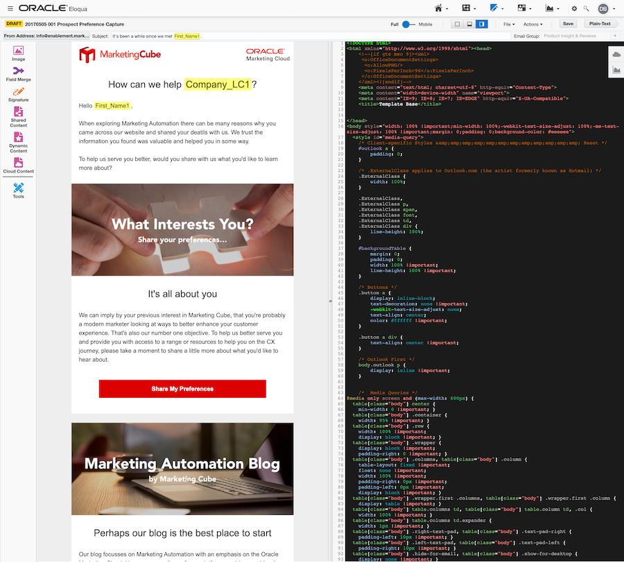 Eloqua Email Source Editor Full Screen Grab 900px