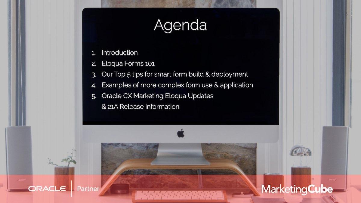 Agenda | The Eloqua Form Design Editor | Eloqua User Group