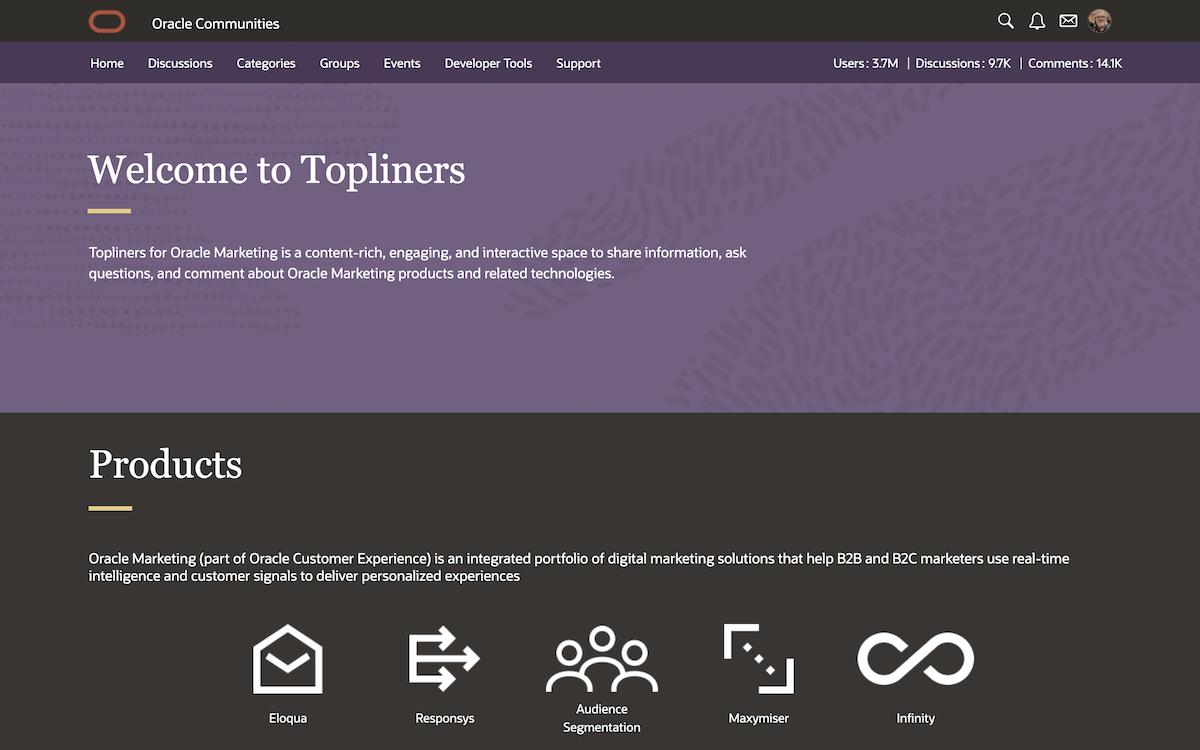Oracle Communities   Topliners