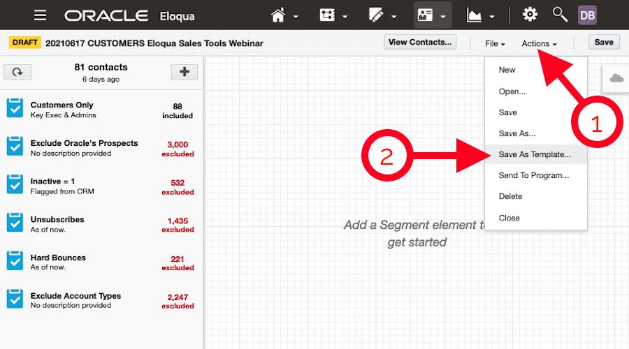 Creating a Segment Template in Oracle Eloqua
