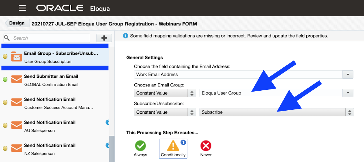 Eloqua Screen Grab Form Processing Step Email Group Subscription